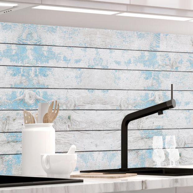 Küchenrückwand - BLAUES DESIGN HOLZ