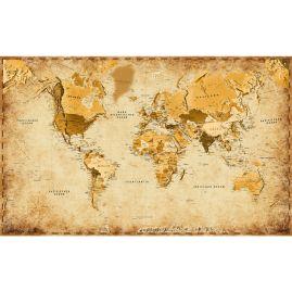Weltkarte - PERGAMENTBRAUN